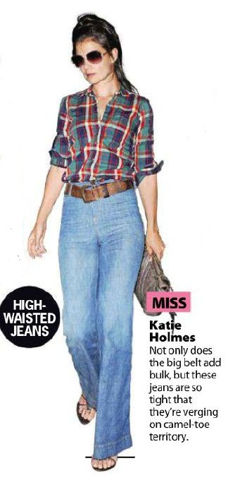 Katie Holmes in high waisted flares